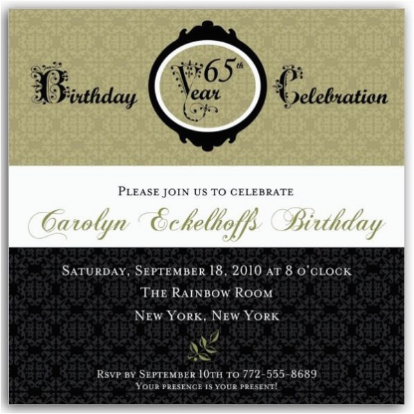 65th Birthday Invitation Wording Damask Invitations Paperstyle