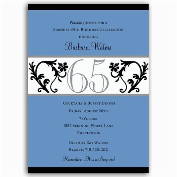 Elegant Vine Blue 65th Birthday Milestone Invitations P 604 57 Ev65