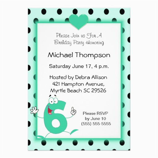 6th Birthday Party Invitation Wording Invitations 5 Quot X 7 Card
