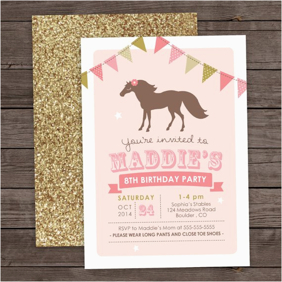 6th Birthday Party Invitation Wording Girl Pony 5th 8th Glitter