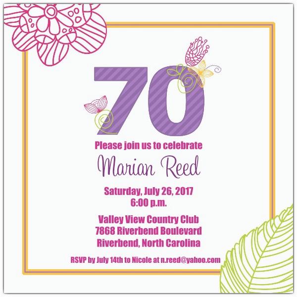 70 birthday invitations templates
