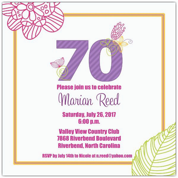 70 Birthday Invitation Wording 15 70th Invitations Design And Theme Ideas