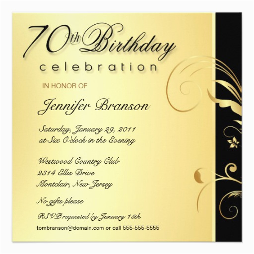 70 Birthday Invitation Wording 70th Party Elegant Gold Floral Invites 5 25