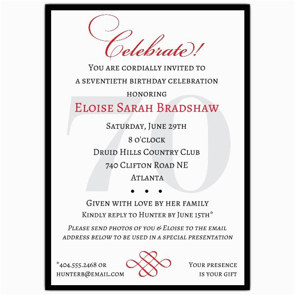70 Birthday Invitation Wording Classic 70th Celebrate Party Invitations Paperstyle