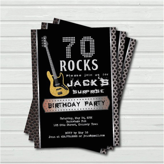 70 Year Old Birthday Invitations Surprise 70th Invitation Rock And Roll Music