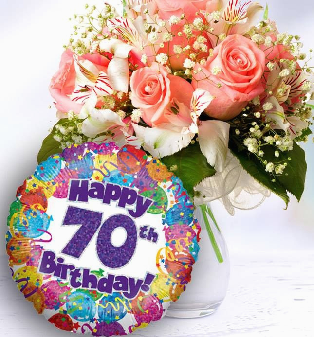 70th Birthday Flowers Delivered And Balloon Available For Uk Wide