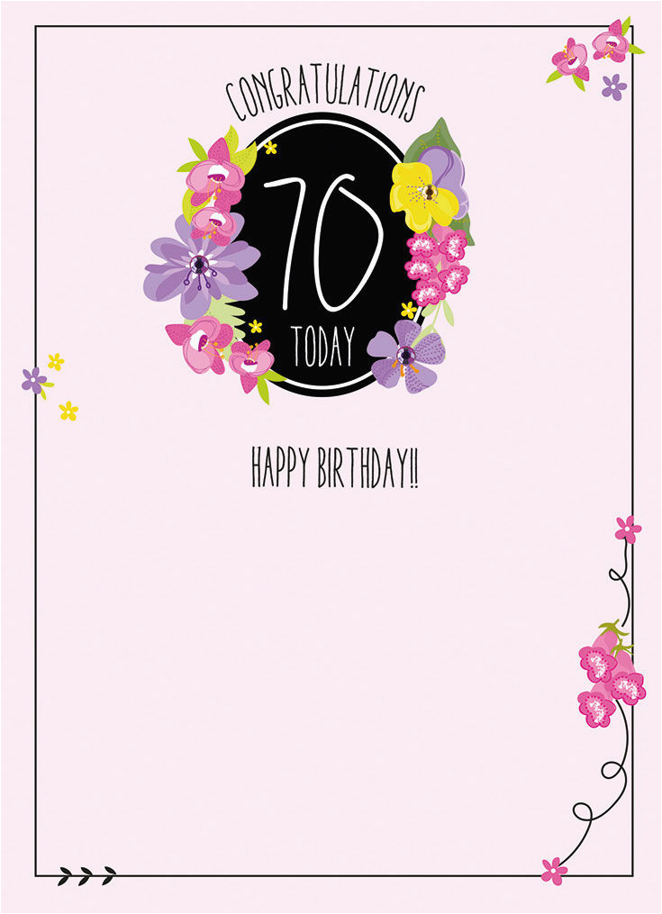 Congratulations 70 Today Birthday Card Karenza Paperie