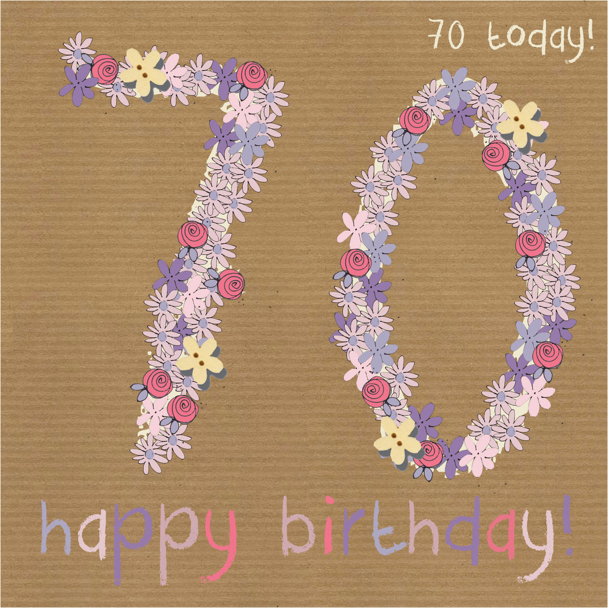 Floral 70th Happy Birthday Card Karenza Paperie