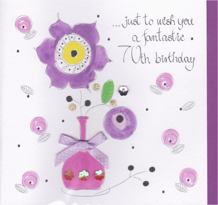 70th Birthday Flowers Delivered Hand Painted Card Karenza Paperie