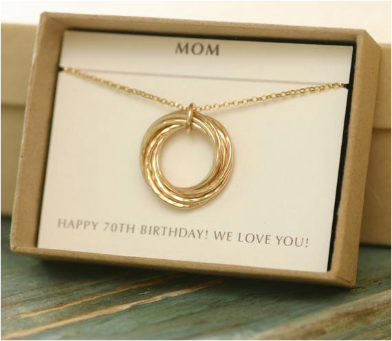 70th Birthday Gift Ideas For Her Gold Necklace Mom 7