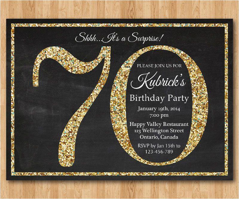 70th birthday invitation gold glitter birthday party
