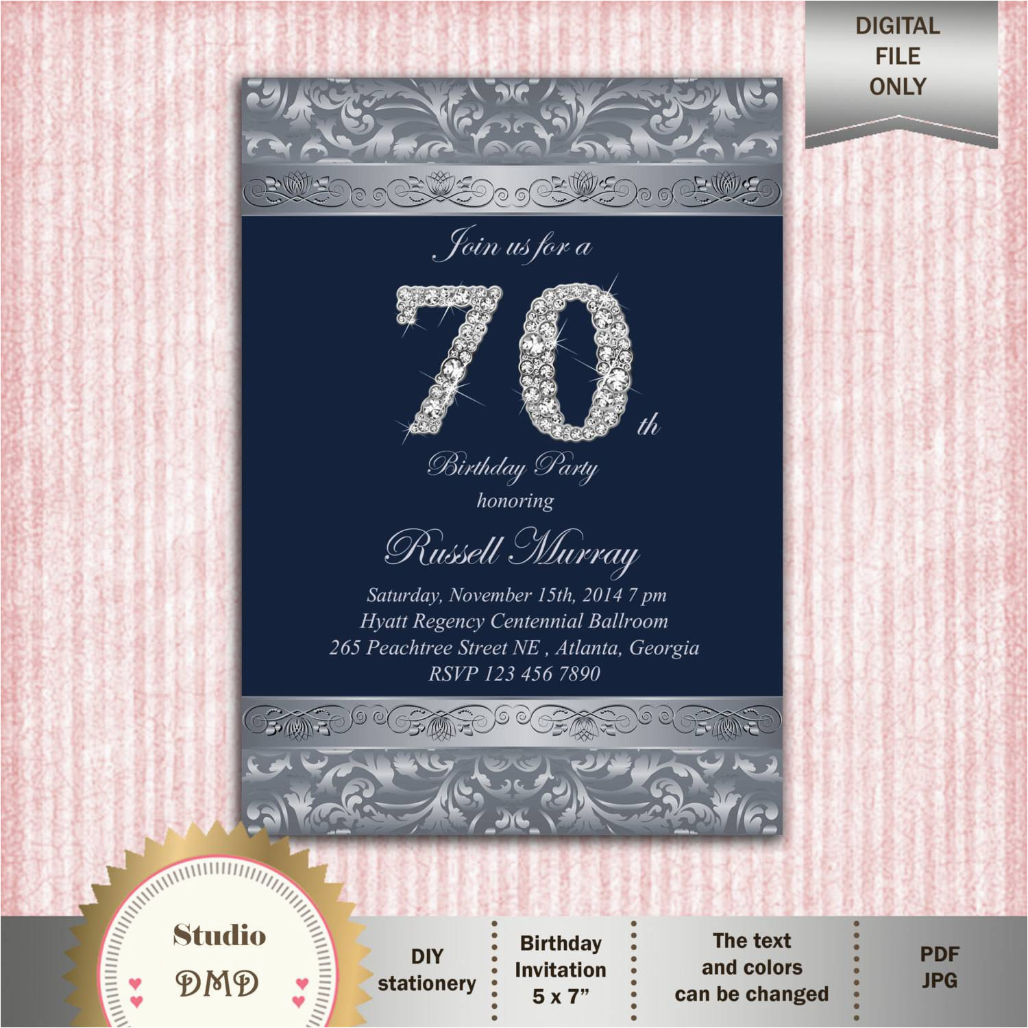70th Birthday Invitation Card Sample Party Invitations Templates