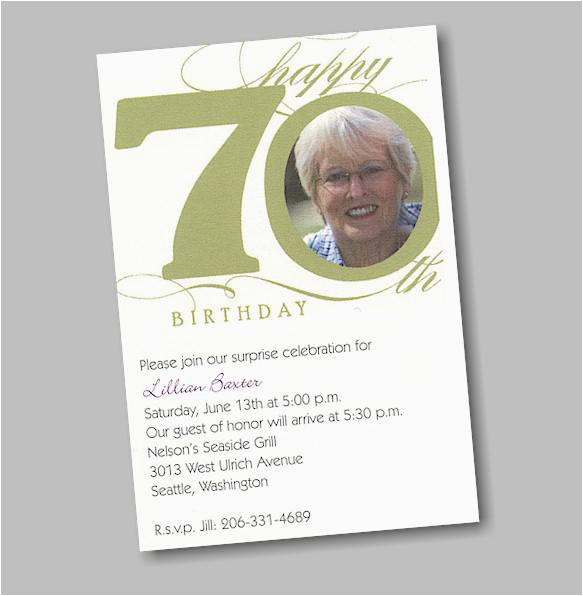 70th Birthday Party Invitations Templates