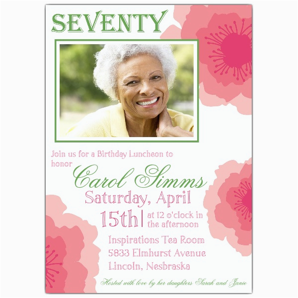 70th Birthday Invitations For Her Party Wording Free Invitation