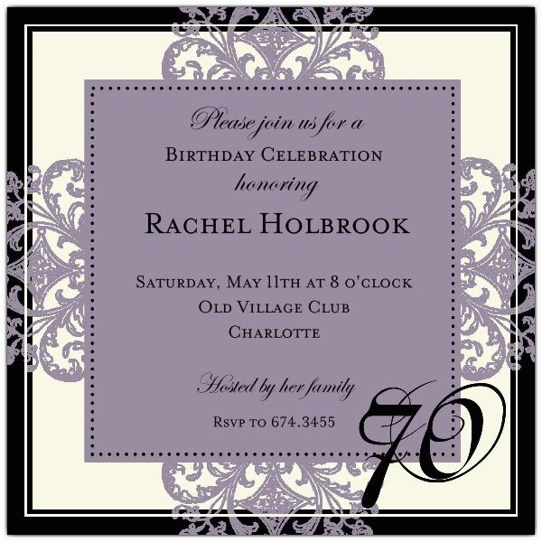 decorative square border eggplant 70th birthday invitations p 603 55 672 70