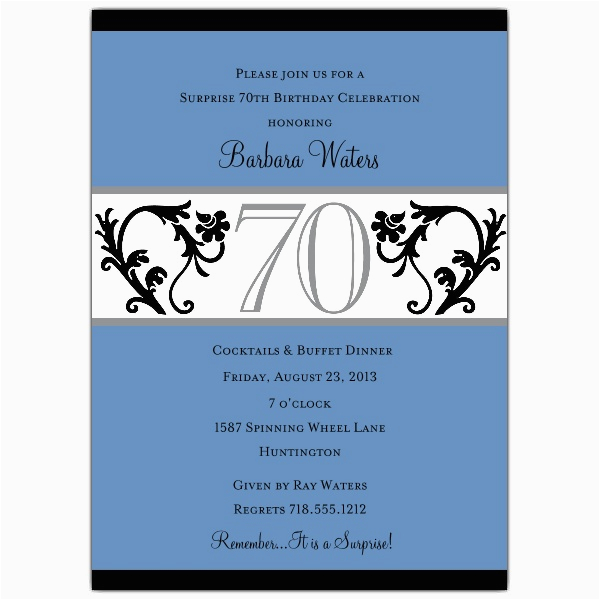 70th Birthday Invitations Wording Samples Elegant Vine Blue Paperstyle
