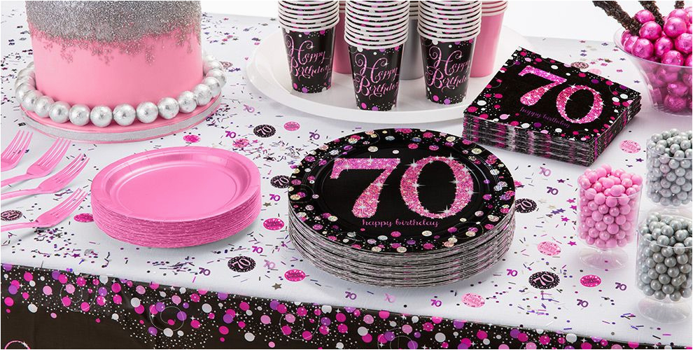 70th Birthday Party Decorations Supplies Pink Sparkling Celebration