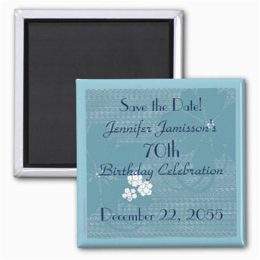 70th birthday save the date blue floral magnet zazzle