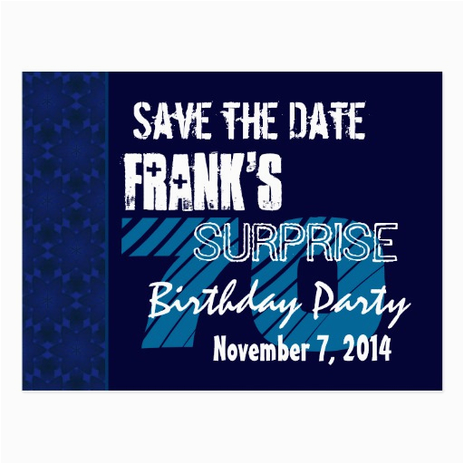 70th surprise birthday save the date blue pattern postcard