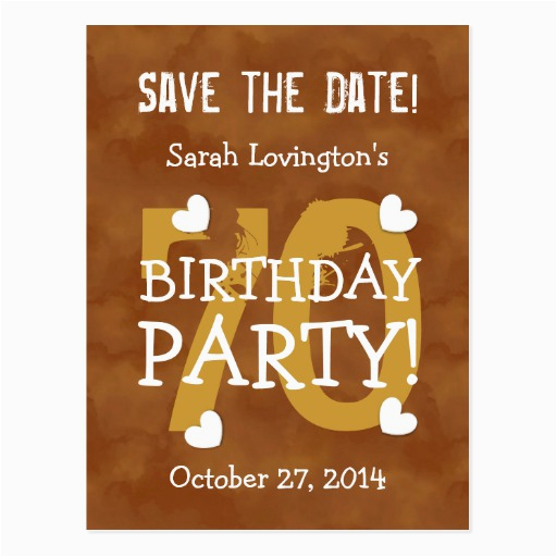 save the date 70th birthday party v70b gold postcard zazzle