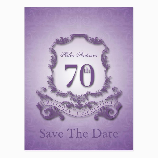 save the date 70th birthday personalized postcard zazzle