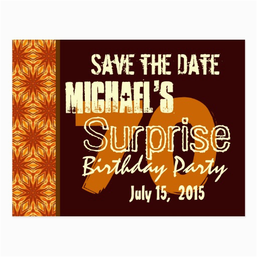 save the date 70th surprise birthday gold postcard zazzle