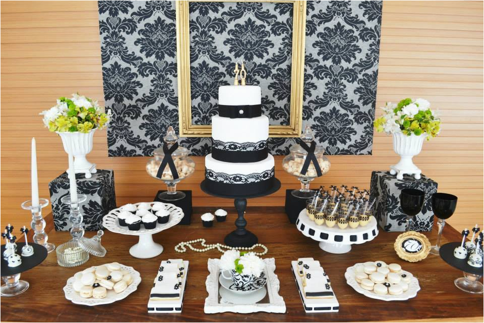 70th Birthday Table Decoration Ideas Gold Black Damask Party