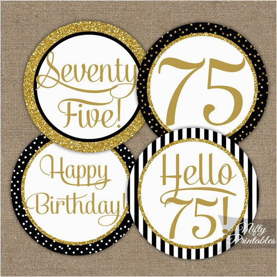 75th birthday cupcake toppers black gold