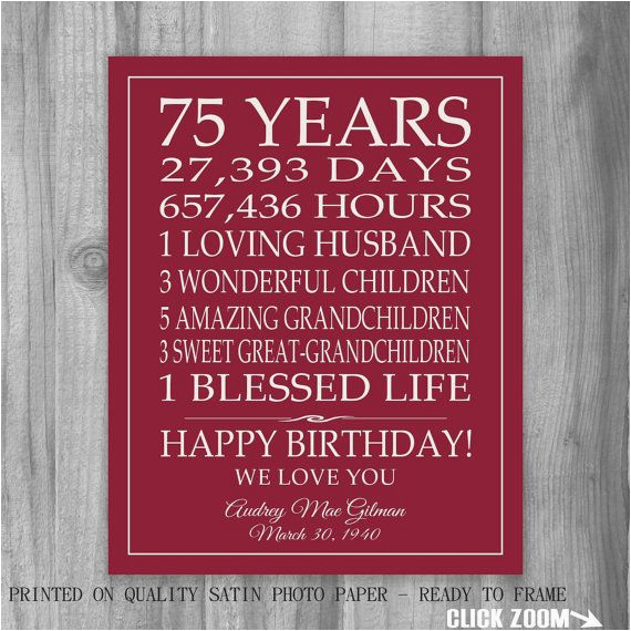 75th birthday gift sign canvas print personalized art mom