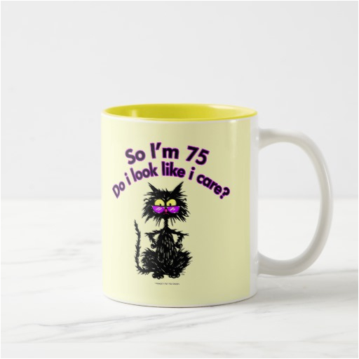75th birthday cat gifts two tone coffee mug zazzle