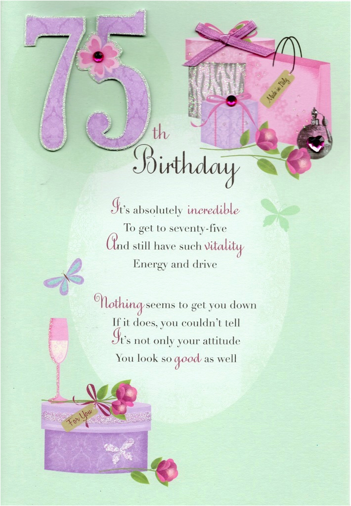 kcsnhwdl037 75th happy birthday greeting card lovely verse embellished greetings cards