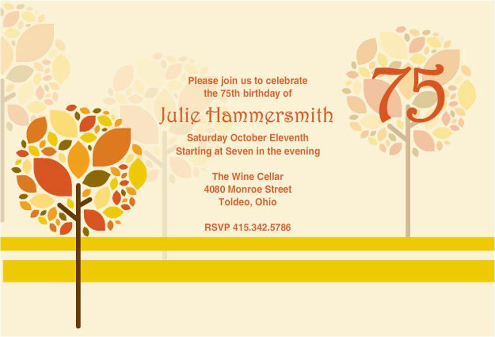 75th Birthday Party Invitation Wording 16 Invitations Unique Ideas