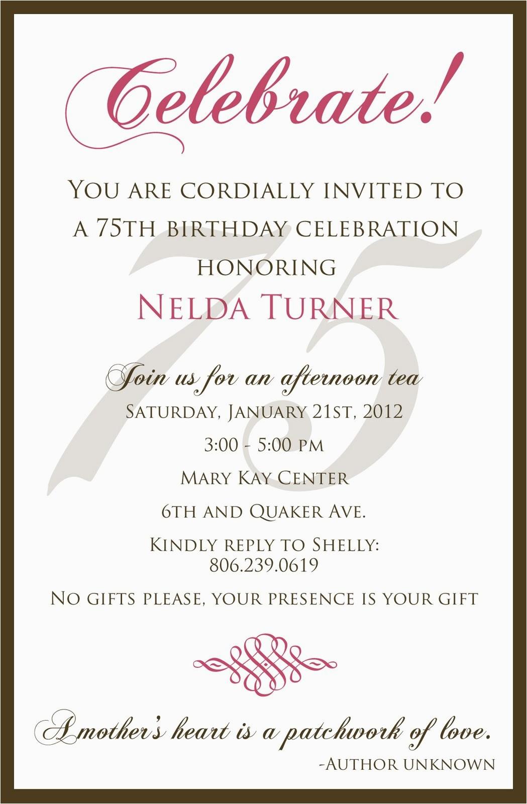 75th birthday invitation wording samples