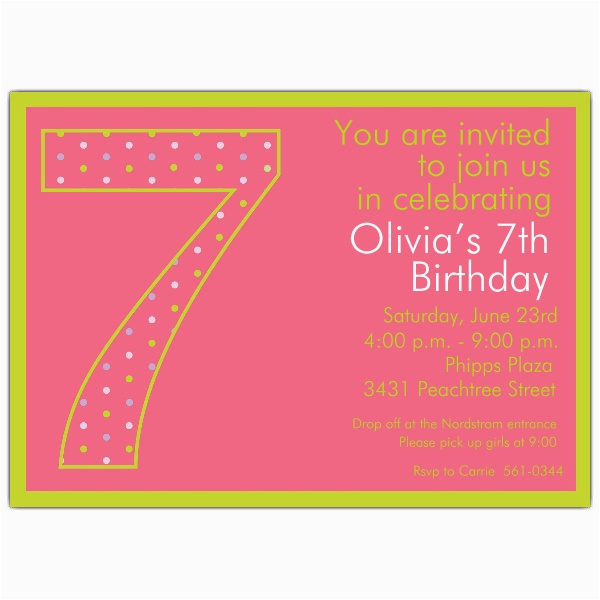 7th birthday girl dots invitations paperstyle