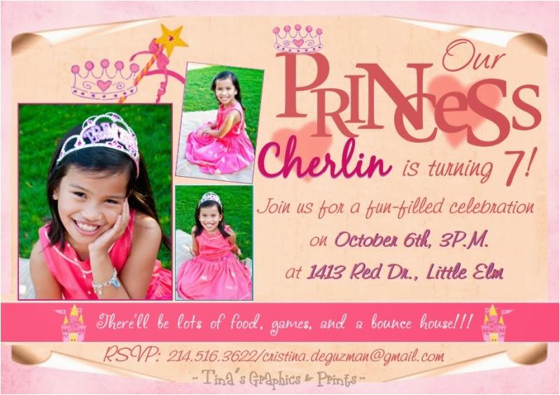 7th Birthday Invitation For Girl Princess Theme Best Happy
