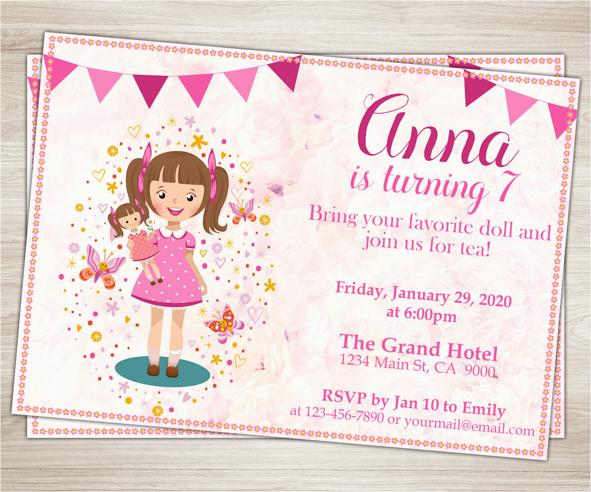 7th Birthday Invitation For Girl Baby Doll Party