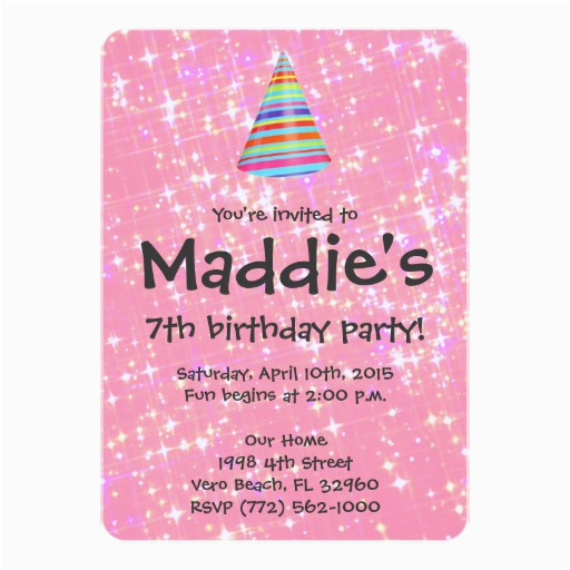 girls pink sparkle 7th birthday party invite zazzle