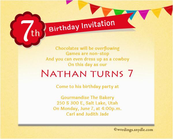 7th Birthday Invitation Message Letter Sample Templates Resume