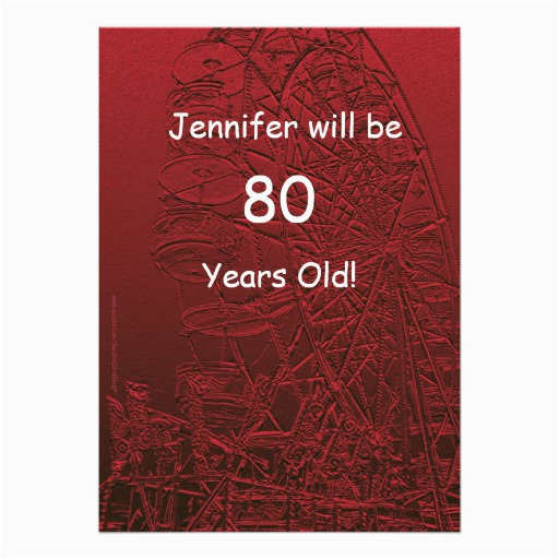 80 Year Old Birthday Party Invitations Years