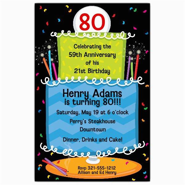80 Year Old Birthday Party Invitations Cake 80th Birthday