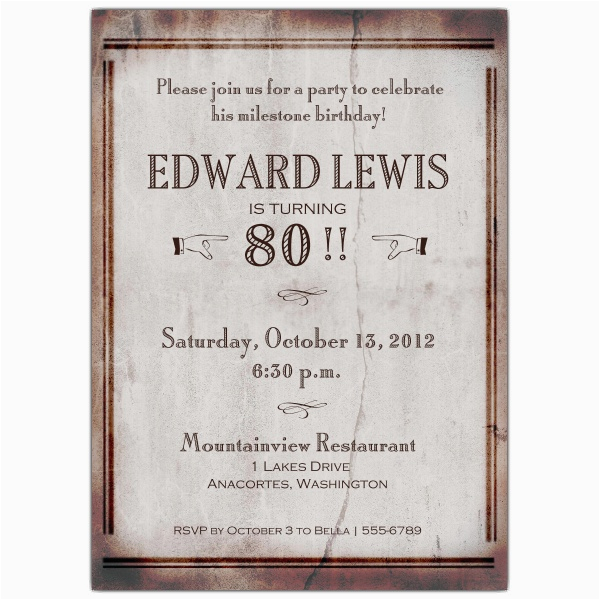 80 Year Old Birthday Party Invitations Free Printable 80 Years Old