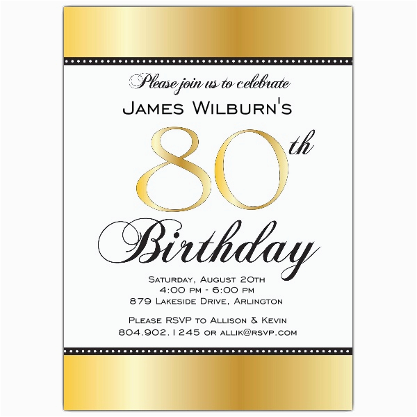 80 Years Old Birthday Invitations