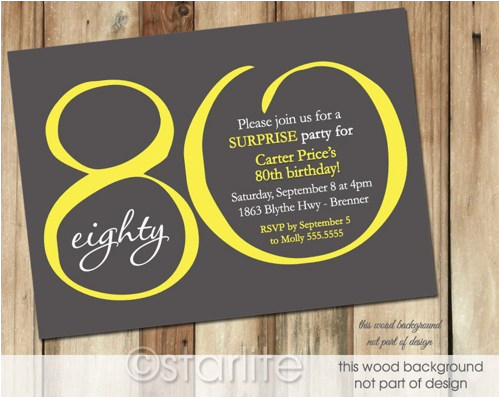 80 Year Old Birthday Party Invitations Free Printable 80th Invitation