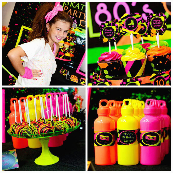 neon 80s skate themed birthday party