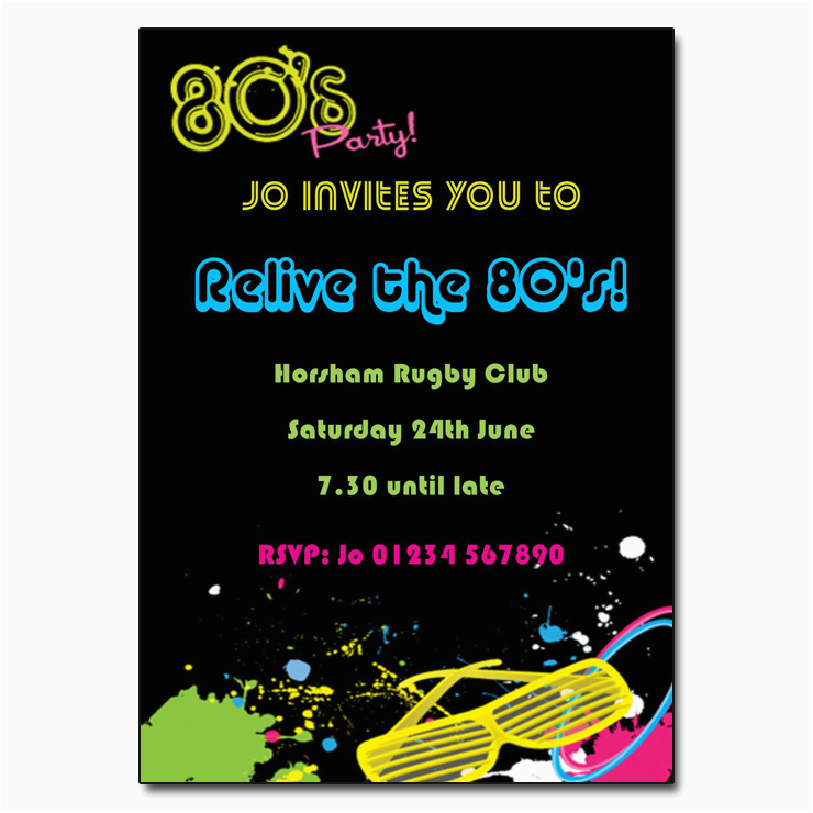 80s Birthday Party Invitation Wording Theme