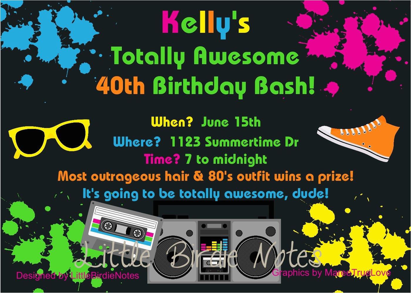80s Birthday Party Invitation Wording Theme Invitations Best Ideas