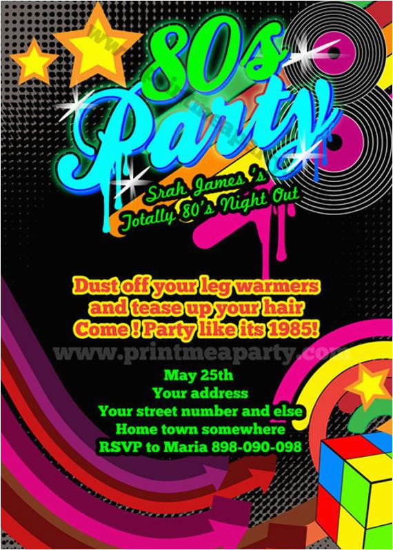 80s Birthday Party Invitation Wording Totally 80 39 S Bling And Neon