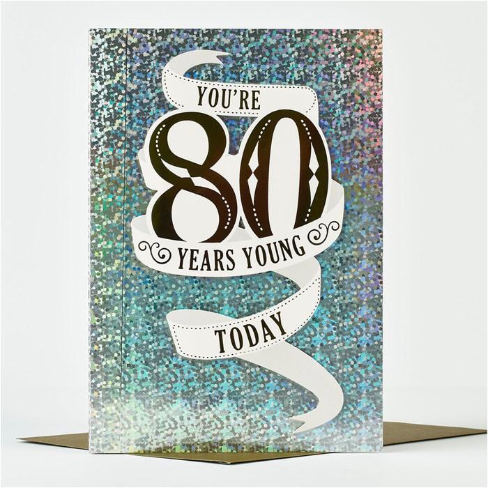 80th Birthday Card Designs 80th Birthday Card Silver Only 99p