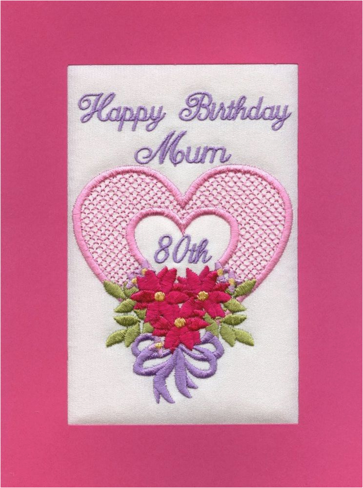 embroidered personalised mum 80th birthday greeting cards