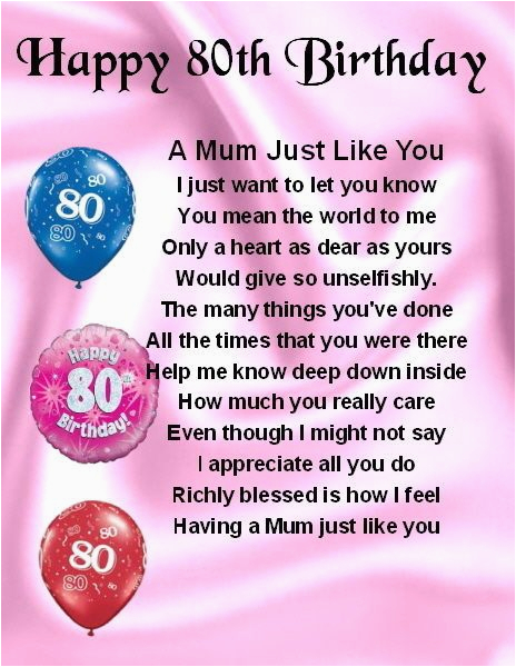 80th Birthday Cards For Mom Fridge Magnet Personalised Mum Poem